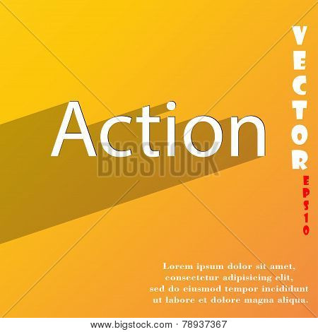 Action Icon Symbol Flat Modern Web Design With Long Shadow And Space For Your Text. Vector