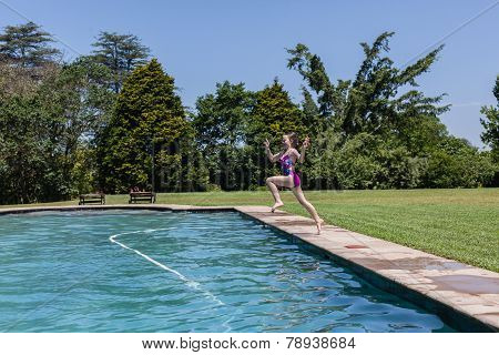 Girl Run Jump Swim Pool