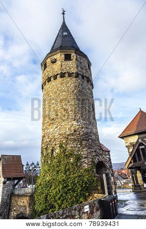 Part Of The Original Drawbridge Tower That Lead To The Castle In Bad Homburg, Near Frankfurt