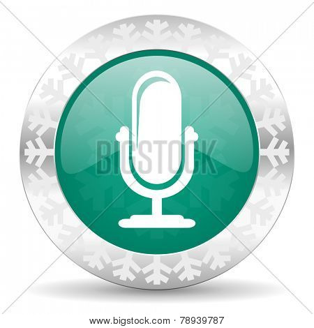 microphone green icon, christmas button, podcast sign