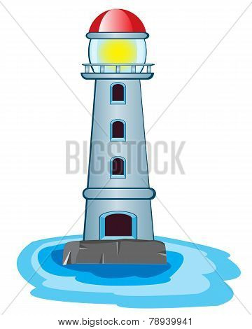 Lighthouse on white