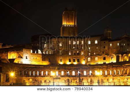 Forum Of Trajan At Night