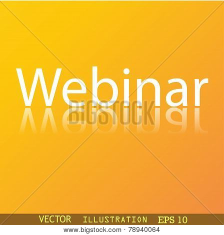 Webinar Web Camera Icon Symbol Flat Modern Web Design With Reflection And Space For Your Text.