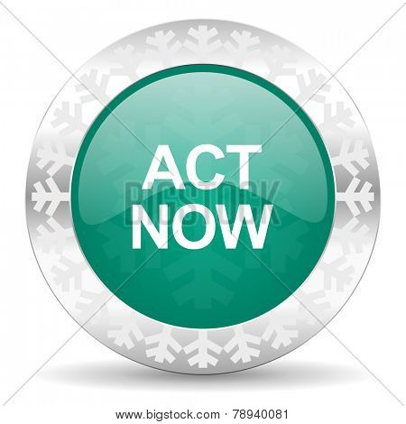 act now green icon, christmas button