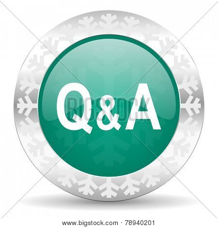 question answer green icon, christmas button