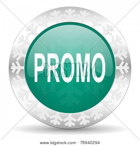 promo green icon, christmas button