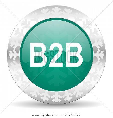 b2b green icon, christmas button