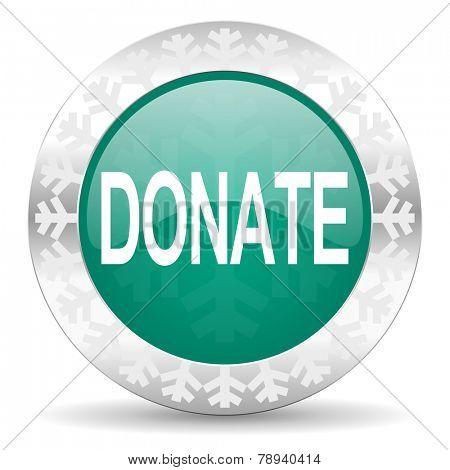donate green icon, christmas button