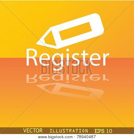 Register Icon Symbol Flat Modern Web Design With Reflection And Space For Your Text. Vector