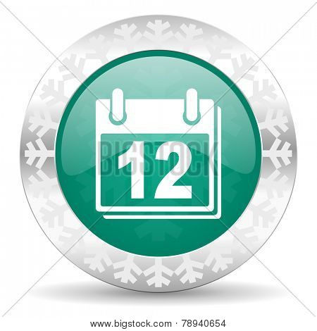 calendar green icon, christmas button, organizer sign, agenda symbol
