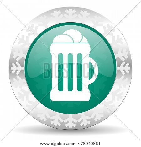 beer green icon, christmas button, mug sign