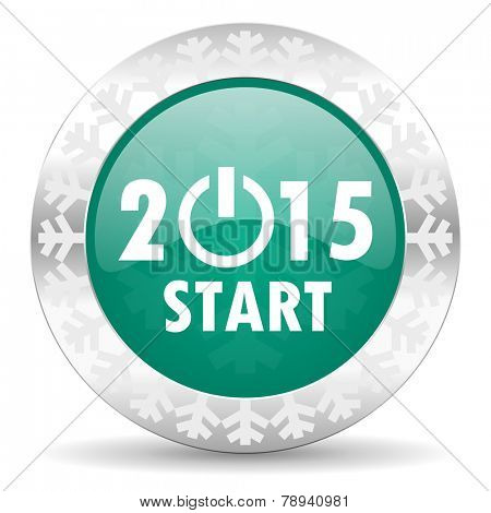 new year 2015 green icon, christmas button, new years symbol