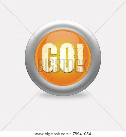 Blue Button With The Word Go