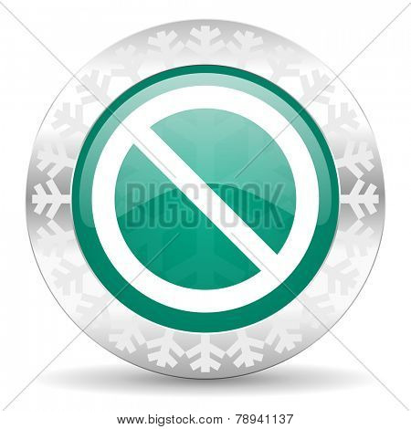 access denied green icon, christmas button