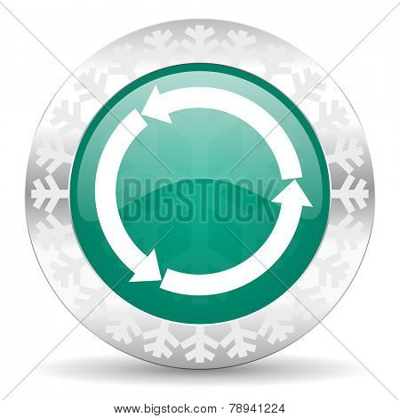 refresh green icon, christmas button, reload green icon, christmas button