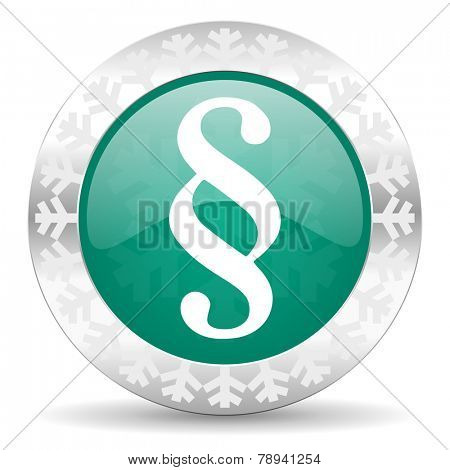 paragraph green icon, christmas button, law sign