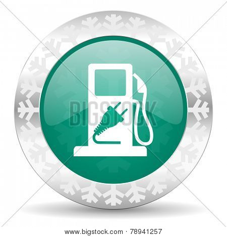 fuel green icon, christmas button, hybrid fuel sign
