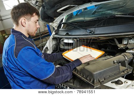 Car servicing, air filter replacing maintenace
