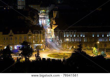 Brasov Illuminated Night View Street