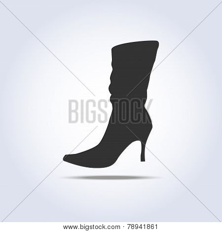 Women's winter boot flat icon
