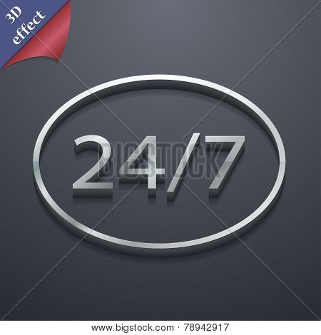 24 Hours A Day And 7 Days A Week Icon Symbol. 3D Style. Trendy, Modern Design With Space For Your Te
