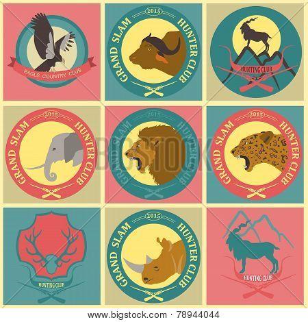 Hunting Club Label Collecton. Grand Safari Logos And Budges