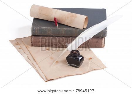 Old Books And Pen