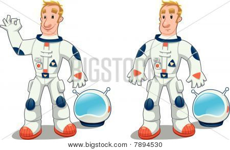 Astronaut in two poses.