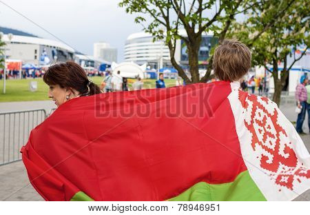 Minsk-belarus, May, 20: Two Ice-hockey Fans In Minsk Holding Belarussian Flag Prior To International