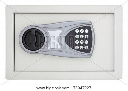 Front numeric code steel safe box on white background.