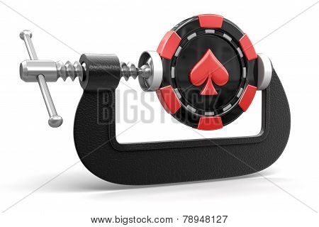 casino chip in clamp (clipping path included)