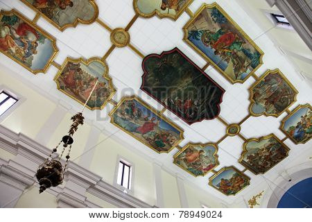 DOBROTA, MONTENEGRO - JUNE 09, 2012: Scenes from the life of St. Eustache, painting on the ceiling of the Catholic Church Saint Eustache in Dobrota, Montenegro, on June 09, 2012
