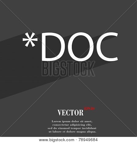 Doc File Extension Icon Symbol Flat Modern Web Design With Long Shadow And Space For Your Text. Vect