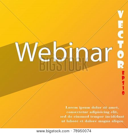 Webinar Web Camera Icon Symbol Flat Modern Web Design With Long Shadow And Space For Your Text. Vect
