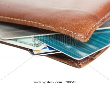 Old Wallet with credit cards isolated
