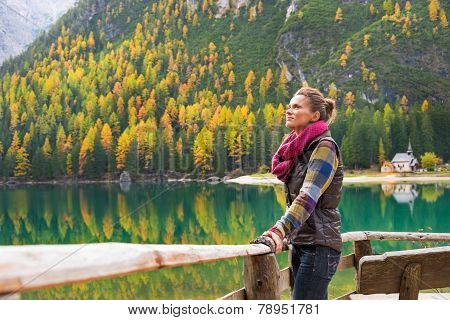 Relaxed Young Woman On Lake Braies In South Tyrol, Italy