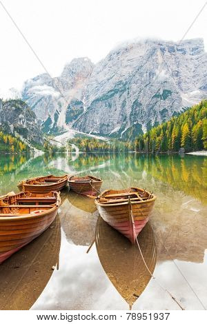 Closeup On Boats On Lake Braies In South Tyrol, Italy