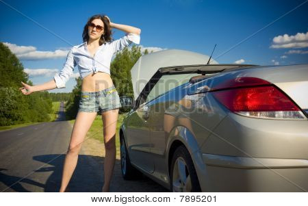 Young Woman Is Waiting For Help