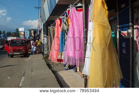 Dresses On Sidewalk