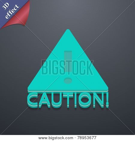 Attention Caution Icon Symbol. 3D Style. Trendy, Modern Design With Space For Your Text Vector