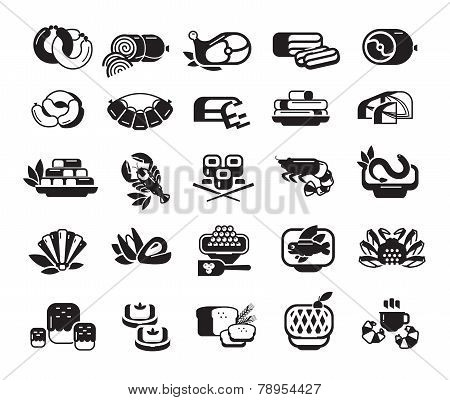 Food. Meat, seafood, baked goods. Set of icons