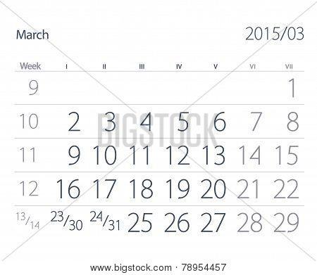 2015 Year Calendar. March.