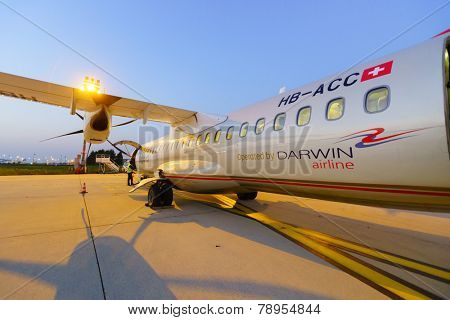 PARIS - SEPTEMBER 10: atr-72 in Charles de Gaulle Airport  on September 10, 2014 in Paris, France. Paris Charles de Gaulle Airport, is one of the world's principal aviation centres,