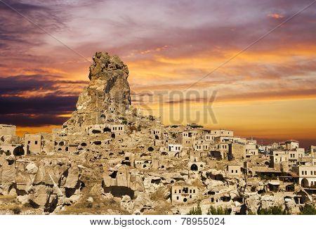 Ortahisar castle at sunset, Cappadocia, Turkey