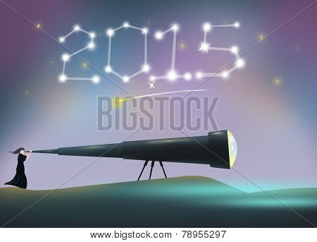 2015 New Year concept with Woman in telescope