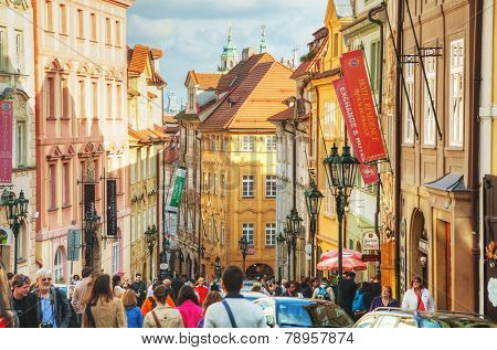 Crowded Street Of Old Town In Prague
