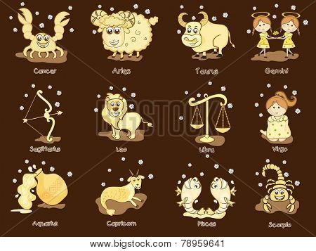 Funny twelve Zodiac or Horoscope sign on brown background.