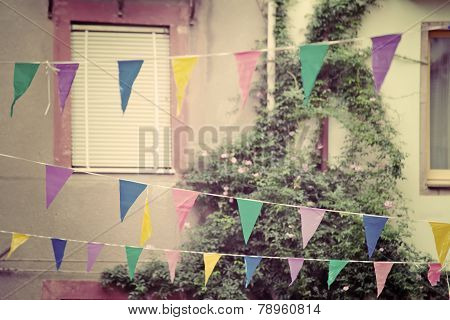 Party Flags In Vintage Tone