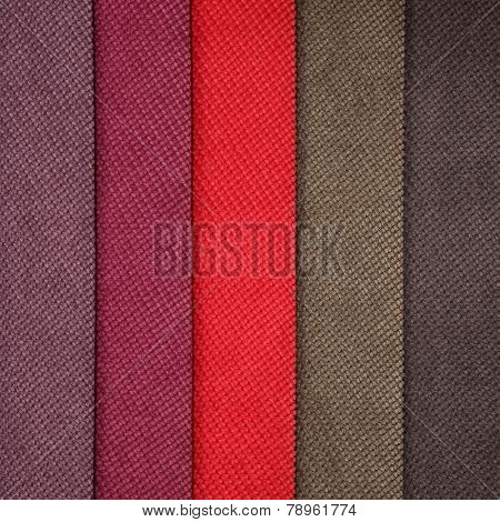 Six textile materials variety shades of colors