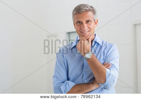 Portrait Of Smiling Mature Businessman With Hand On Chin In His Office